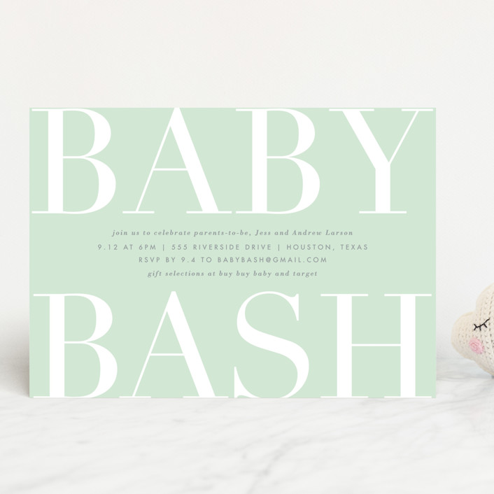 """""""Big Bash"""" - Baby Shower Invitations in Blush by Lauren Chism."""