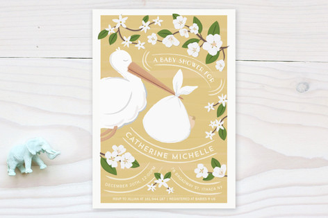 The Baby And The Stork Baby Shower Invitations