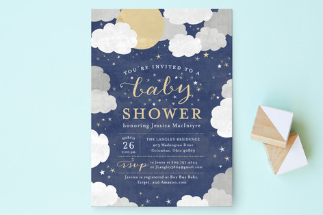 under the stars baby shower invitations by sarah b minted