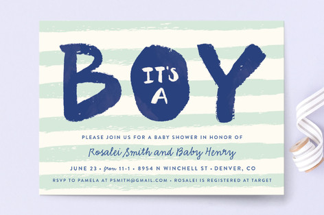 Brushed Boy Baby Shower Invitations