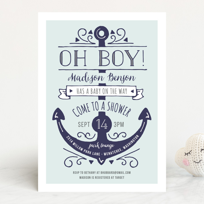 """Oh Boy!"" - Bold typographic Baby Shower Invitations in Wave by JeAnna Casper."