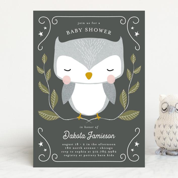 """Night Owl"" - Baby Shower Invitations in Deep Sea by Lehan Veenker."