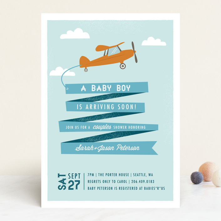 """Airplane News Stream"" - Whimsical & Funny Baby Shower Invitations in Powder Blue by Karidy Walker."