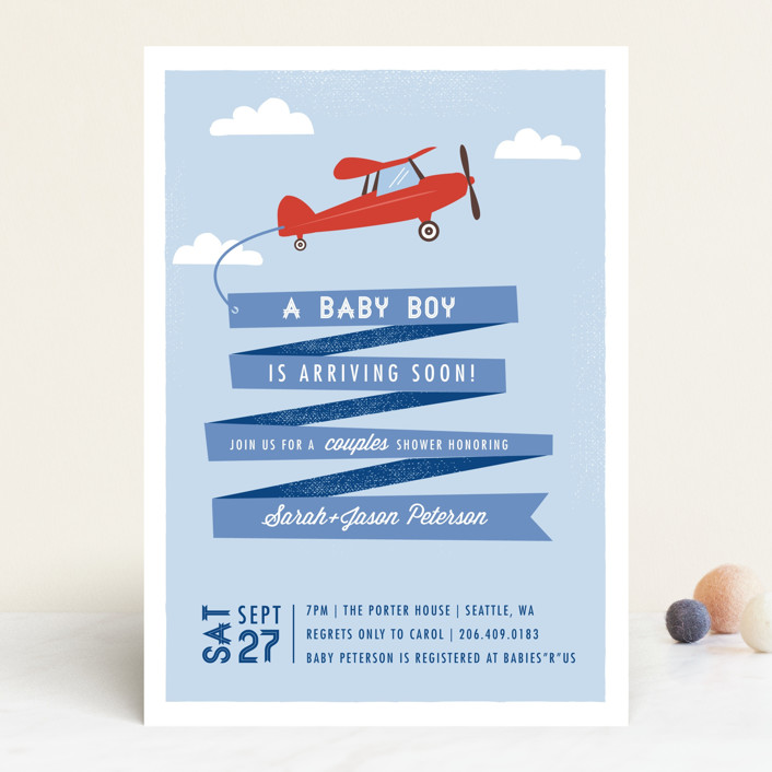"""""""Airplane News Stream"""" - Whimsical & Funny Baby Shower Invitations in Sky by Karidy Walker."""