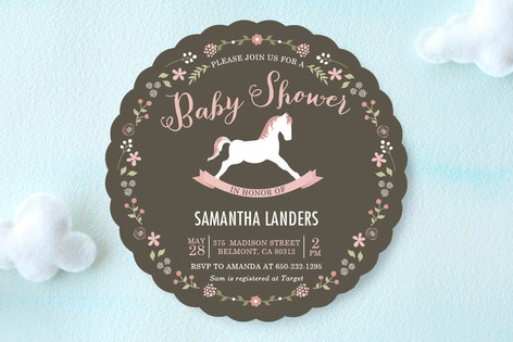 Elegant Rocking Horse Baby Shower Invitations