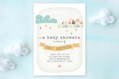 Funky Clouds Baby Shower Invitations