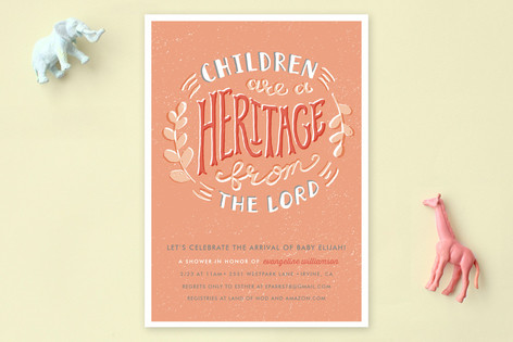 Hand-Drawn Heritage Baby Shower Invitations