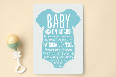 Baby Boy on Board Baby Shower Invitations