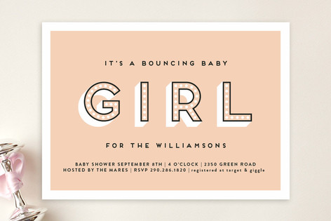 Bouncing Baby Girl Baby Shower Invitations