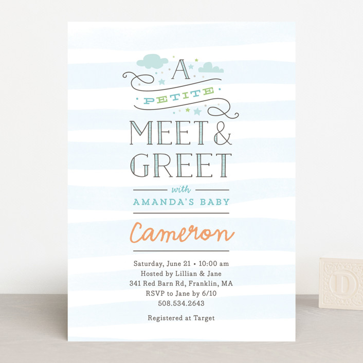 """""""Petite Meet & Greet"""" - Whimsical & Funny, Preppy Baby Shower Invitations in Blueberry by Jennifer Wick."""