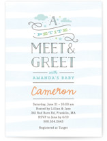 This is a blue baby shower invitation by Jennifer Wick called Petite Meet & Greet with standard printing on signature in standard.