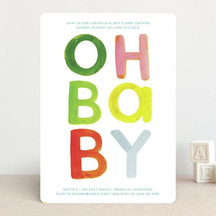 """Bright Colorful Baby"" - Modern, Whimsical & Funny Baby Shower Invitations in Jelly Bean by Baumbirdy."