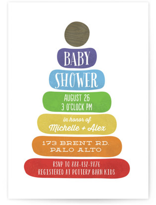 Classic Stacking Toy Baby Shower Invitations