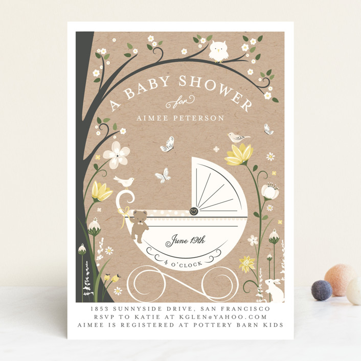 """""""Fairytale Stroll"""" - Whimsical & Funny, Floral & Botanical Baby Shower Invitations in Blush by Susan Moyal."""