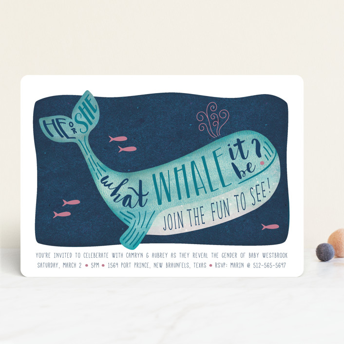 """Gender Reveal Whale"" - Hand Drawn, Whimsical & Funny Baby Shower Invitations in Navy by Johanna McShan."