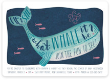 This is a blue baby shower invitation by Johanna McShan called Gender Reveal Whale with standard printing on signature in standard.