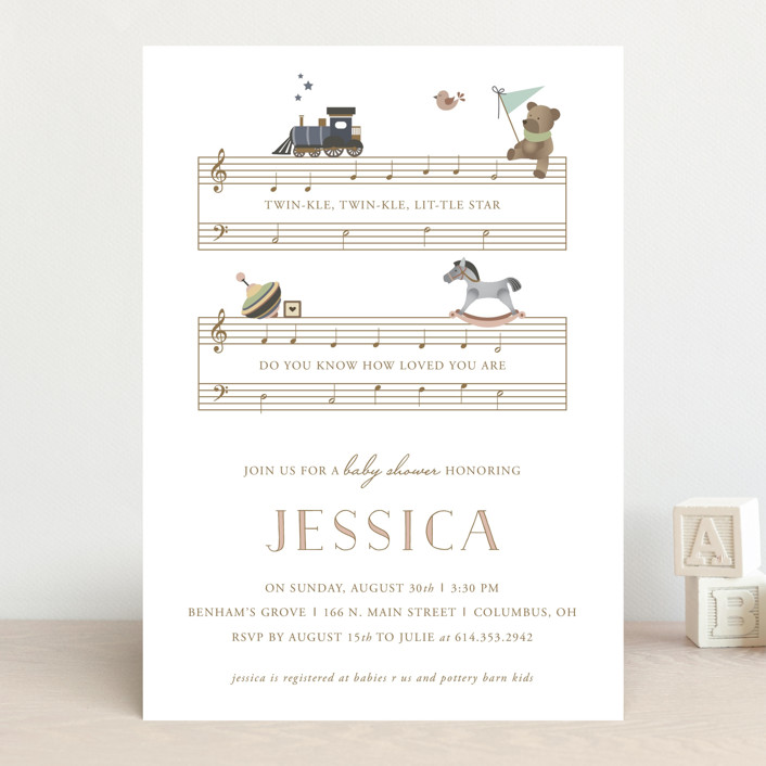 """""""Lullaby"""" - Whimsical & Funny, Vintage Baby Shower Invitations in Powder by Jennifer Postorino."""