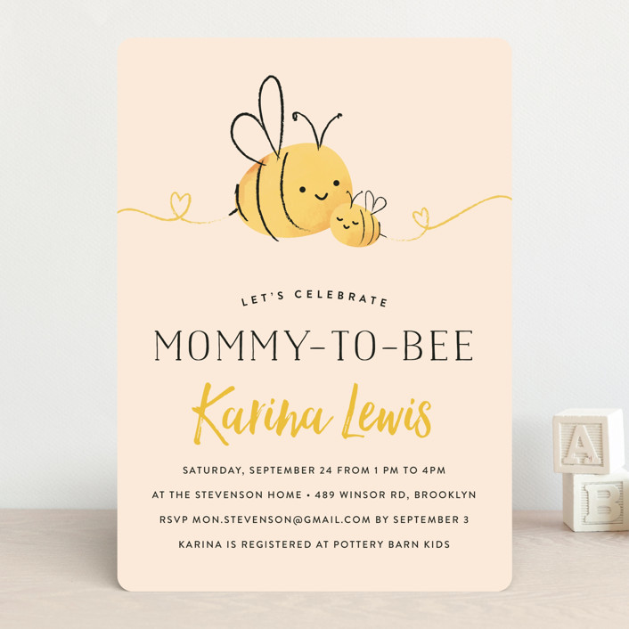 """Mommy-to-Bee"" - Hand Drawn Baby Shower Invitations in Honey by Chryssi Tsoupanarias."