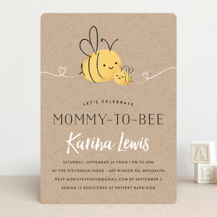 """""""Mommy-to-Bee"""" - Hand Drawn Baby Shower Invitations in Honey by Chryssi Tsoupanarias."""