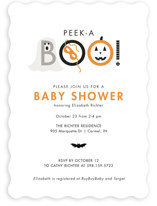 This is a orange baby shower invitation by Sarah Brown called Peek A Boo with standard printing on signature in standard.