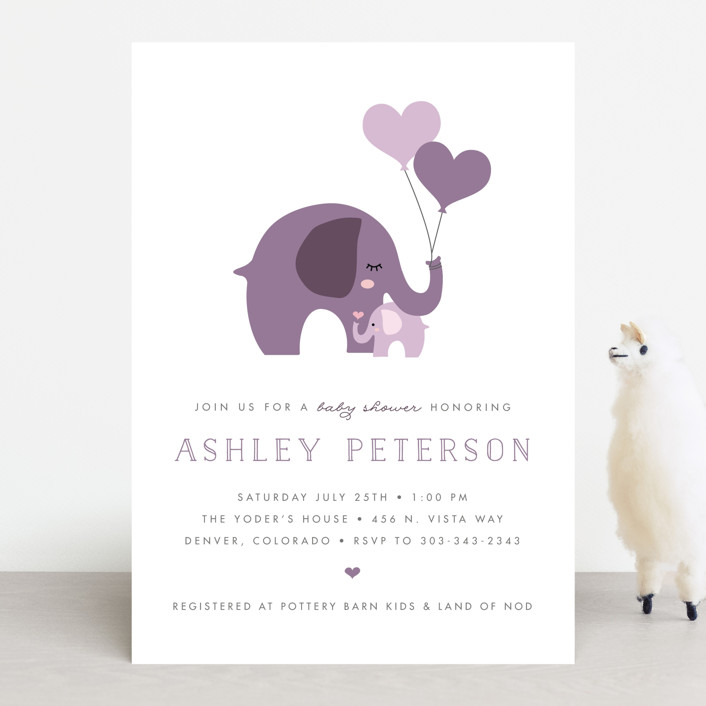 """Sweet Elephant"" - Hand Drawn Baby Shower Invitations in Caribbean by Ashley Rosenbaum."