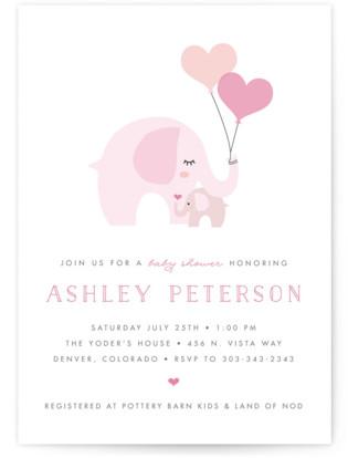 Sweet Elephant Baby Shower Invitations