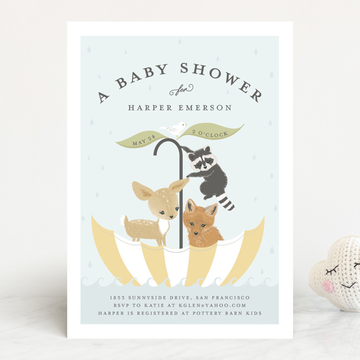 """Umbrella Sailing"" - Whimsical & Funny, Hand Drawn Baby Shower Invitations in Butter by Susan Moyal."