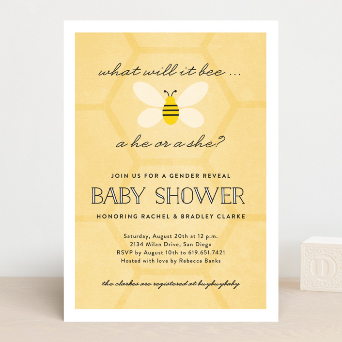 """What Will It Bee"" - Preppy, Hand Drawn Baby Shower Invitations in Honeycomb by Erica Krystek."