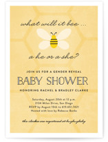 This is a yellow baby shower invitation by Erica Krystek called What Will It Bee with standard printing on signature in standard.