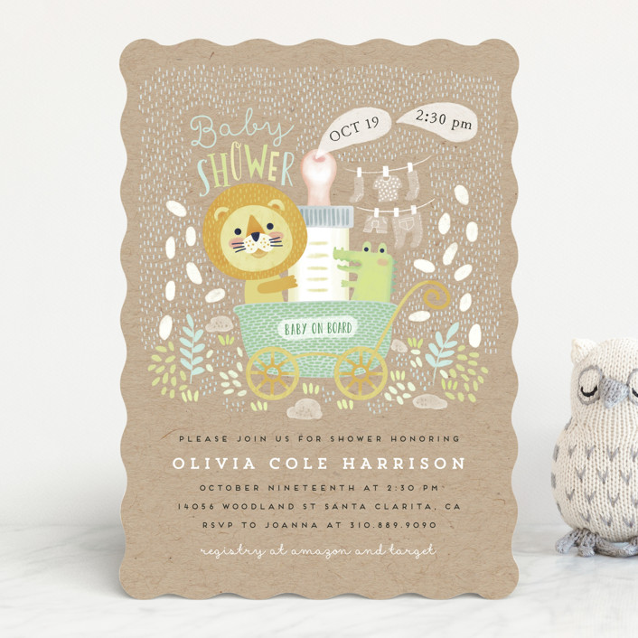 """""""Baby on Board"""" - Baby Shower Invitations in Ivory by iamtanya."""