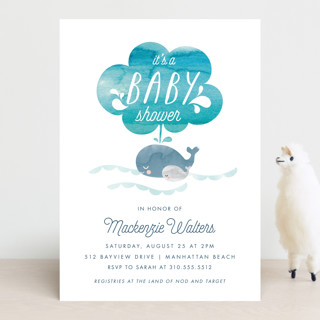 Whale Love Baby Shower Invitations