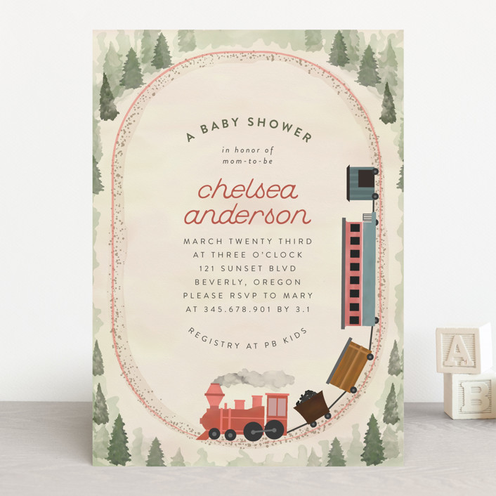 """Miniature Railroad"" - Baby Shower Invitations in Tomato by Grae Sales."