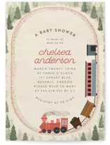 This is a red baby shower invitation by Grae called Miniature Railroad with standard printing on signature in standard.