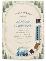 This is a blue baby shower invitation by Grae called Miniature Railroad with standard printing on signature in standard.