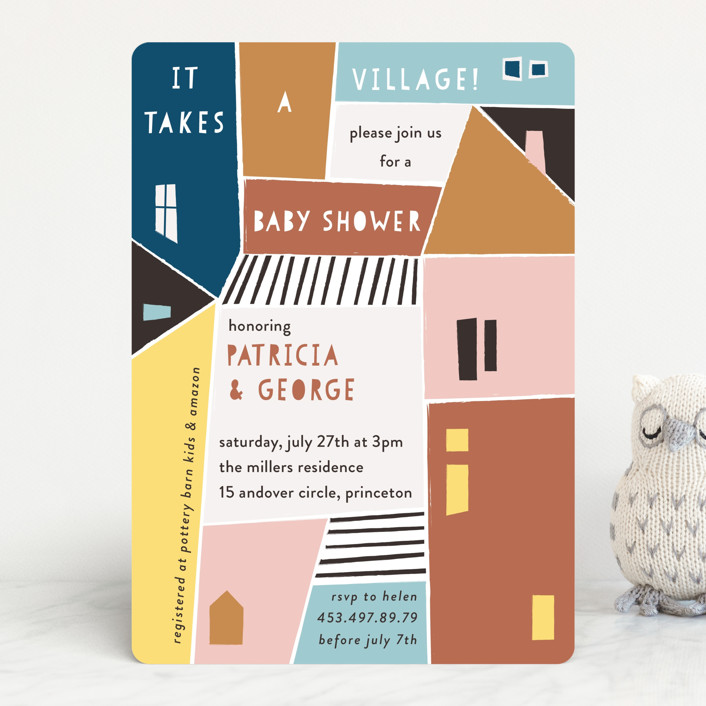 """""""Papercut Village"""" - Baby Shower Invitations in Earth by lulu and isabelle."""