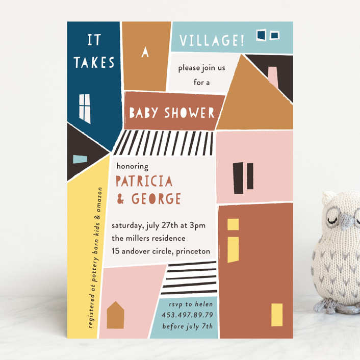 """Papercut Village"" - Baby Shower Invitations in Earth by lulu and isabelle."