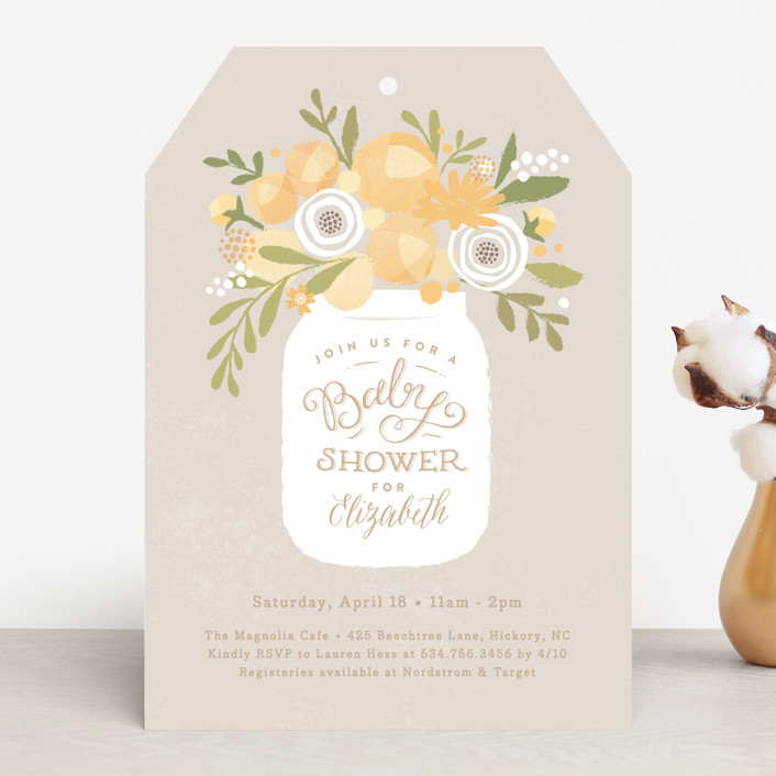 """Mason jar florals"" - Rustic, Floral & Botanical Baby Shower Invitations in Petal by Jennifer Wick."