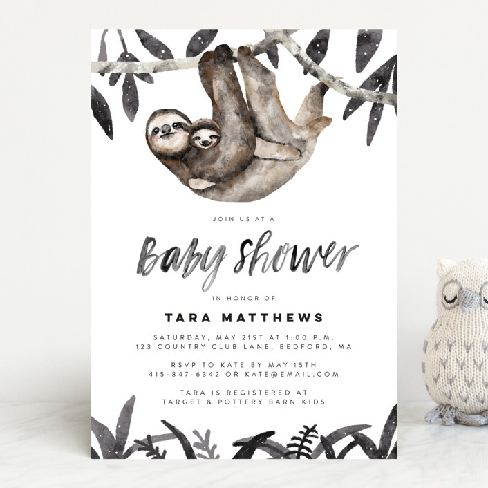 """""""Sloth hug"""" - Baby Shower Invitations in Moss by Cass Loh."""