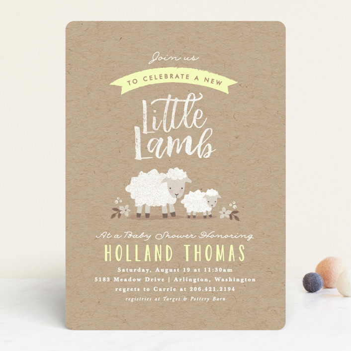"""""""Little Lamb"""" - Baby Shower Invitations in Blush by Karidy Walker."""