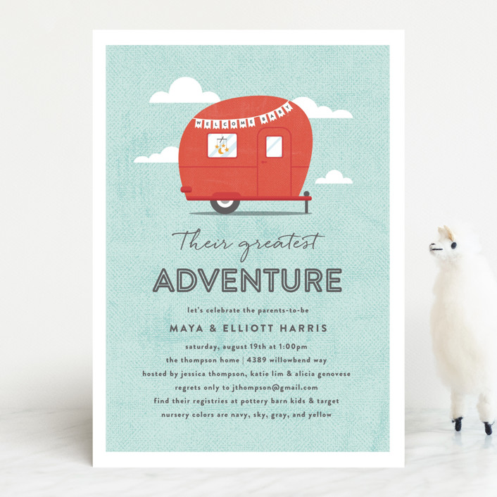 """Cute Camper"" - Whimsical & Funny Baby Shower Invitations in Ruby by Olivia Raufman."