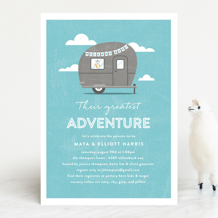 """""""Cute Camper"""" - Whimsical & Funny Baby Shower Invitations in Ruby by Olivia Raufman."""