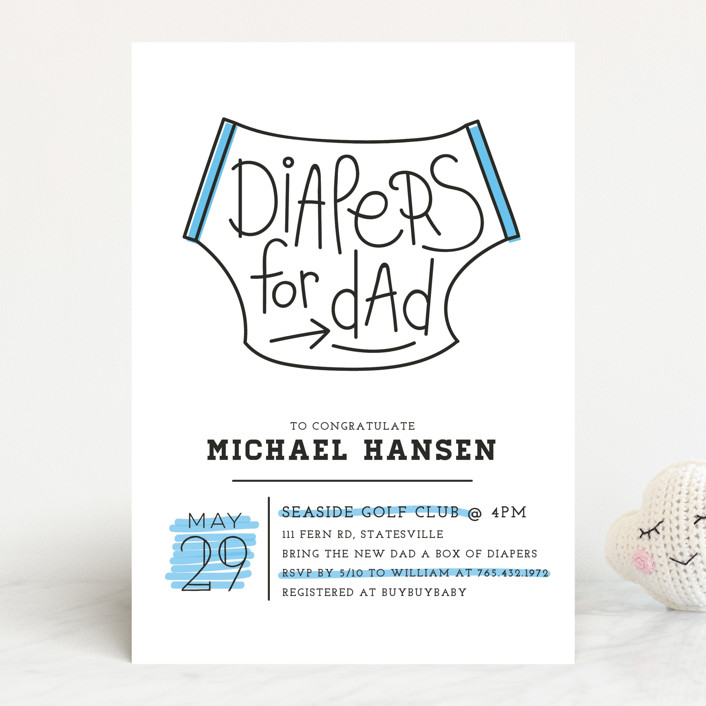 """""""Diapers for Dad"""" - Modern, Hand Drawn Baby Shower Invitations in Pool by Christina Novak."""