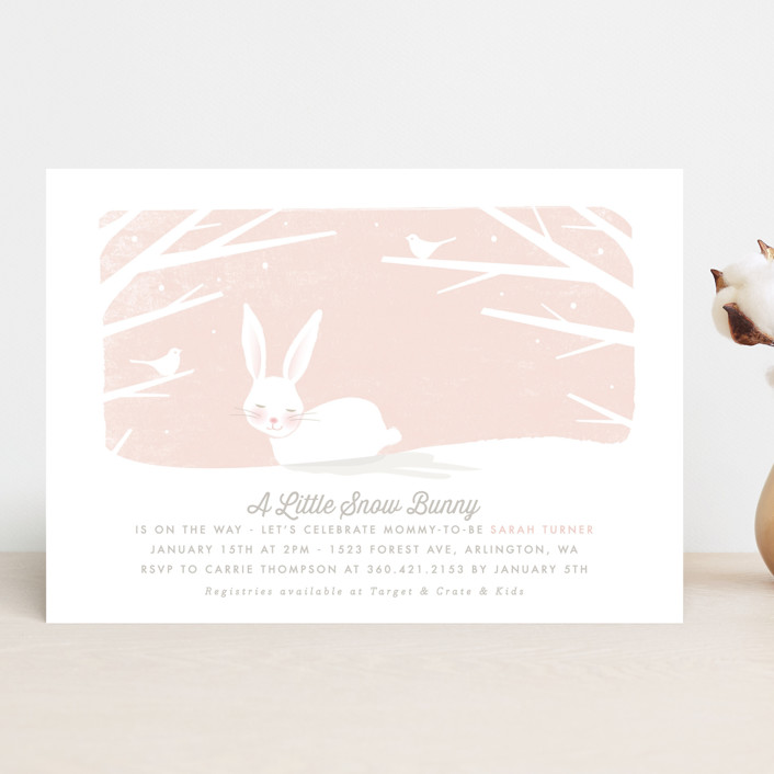 """little snow bunny"" - Hand Drawn Baby Shower Invitations in Blush by Karidy Walker."