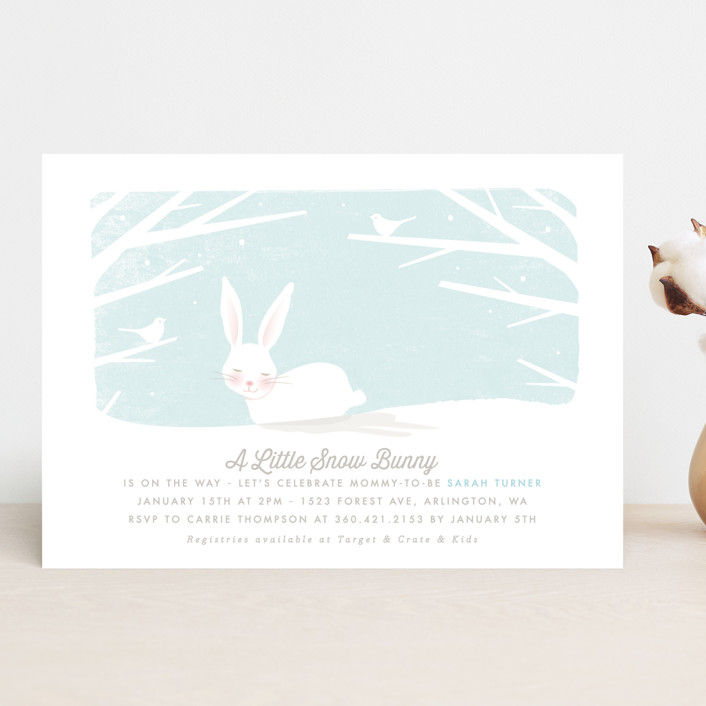 """""""little snow bunny"""" - Hand Drawn Baby Shower Invitations in Blush by Karidy Walker."""