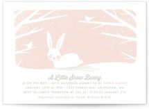 This is a pink baby shower invitation by Karidy Walker called little snow bunny with standard printing on signature in standard.