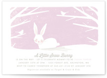 This is a purple baby shower invitation by Karidy Walker called little snow bunny with standard printing on signature in standard.