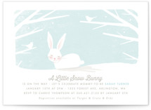 This is a blue baby shower invitation by Karidy Walker called little snow bunny with standard printing on signature in standard.