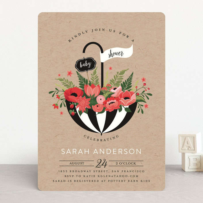 """""""Umbrella Bouquet"""" - Rustic, Floral & Botanical Baby Shower Invitations in Peony by Susan Moyal."""