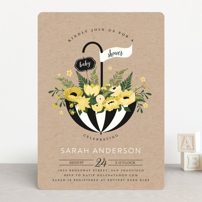"""Umbrella Bouquet"" - Rustic, Floral & Botanical Baby Shower Invitations in Peony by Susan Moyal."