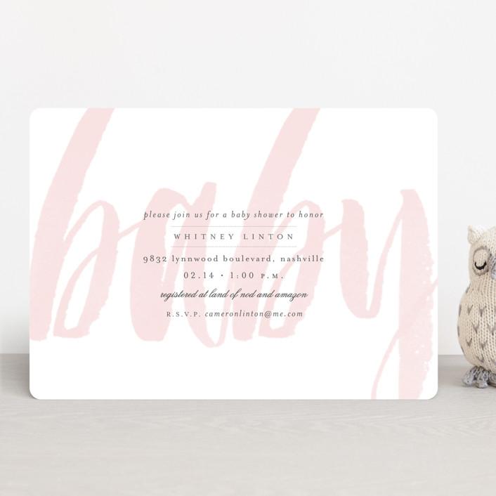"""Whisper"" - Modern, Bold typographic Baby Shower Invitations in Blush by Sara Hicks Malone."